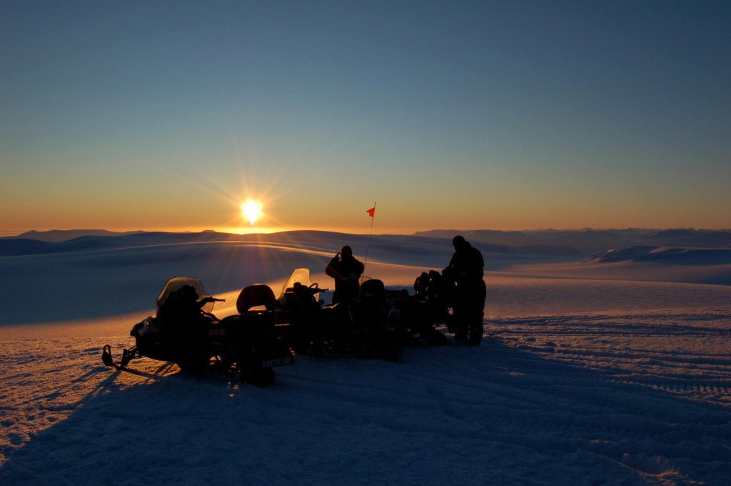 Sunset in March during a Snowmobile trip on Svalbard