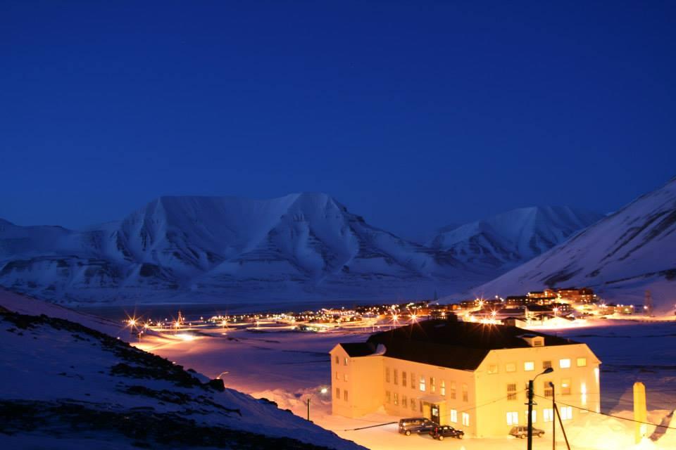 Longyearbyen in the polar night, Svalbard