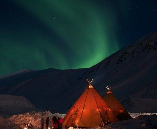 Tents under the Northern Lights